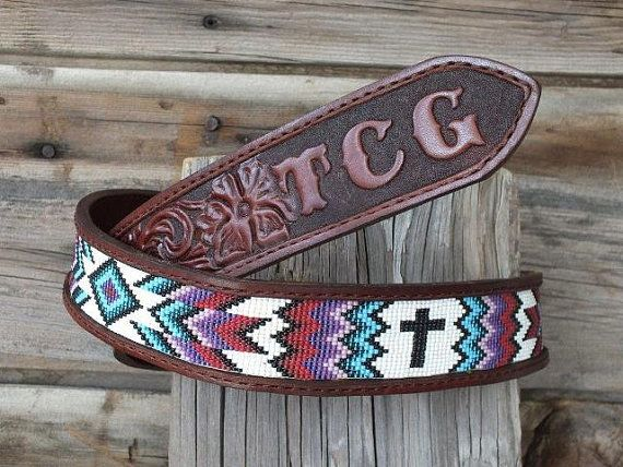Leather Belt with beaded inset by Deesbeadeddogcollars on Etsy