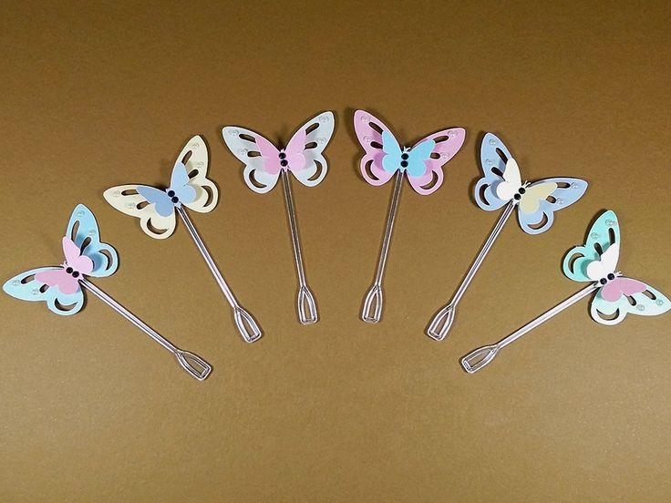 Delicadas e coloridas borboletas para decorar os docinhos da sua festinha. Festa Flores e Borboletas, Festa Borboletas, Festa Jardim Encantado, Festa Jardim. Chá de Bebê.