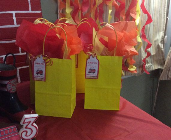 Fire Truck Birthday Party Theme Candy Bags by FantastikCreations
