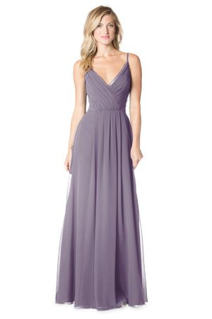 Bari Jay 1622 and 1622-S: spaghetti strap dress with pleated V-Neck Bodice, sheer trim neckline and sheer side panels and center front pleated skirt. Bella Chiffon in Wisteria.