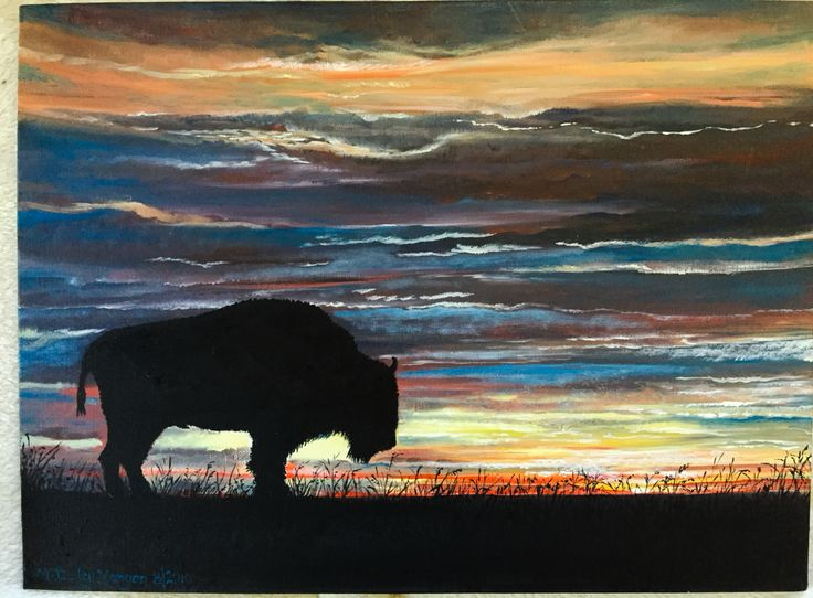 My Acrylic painting of a Buffalo Silhouette
