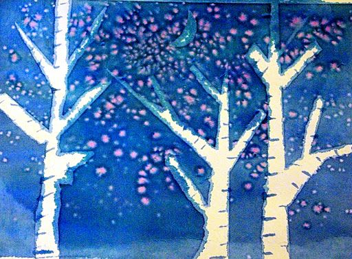 Kids Art: Watercolor Winter Trees ~ Mom's Crafty Space