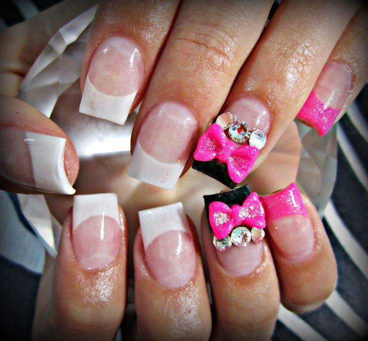 Pink 3d bow acrylic nails | nails | Pinterest