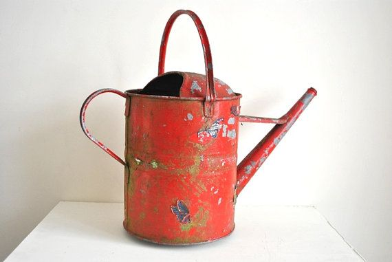 Unique Big Lovely Vintage English Farmhouse Shabby Chic Country Garden Watering Can Red and butterflies