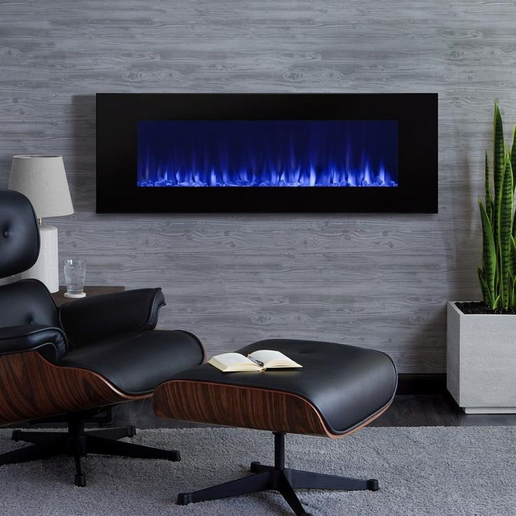 Real Flame DiNatale 50 in. Wall-Mount Electric Fireplace in Black-1330E-BK - The Home Depot