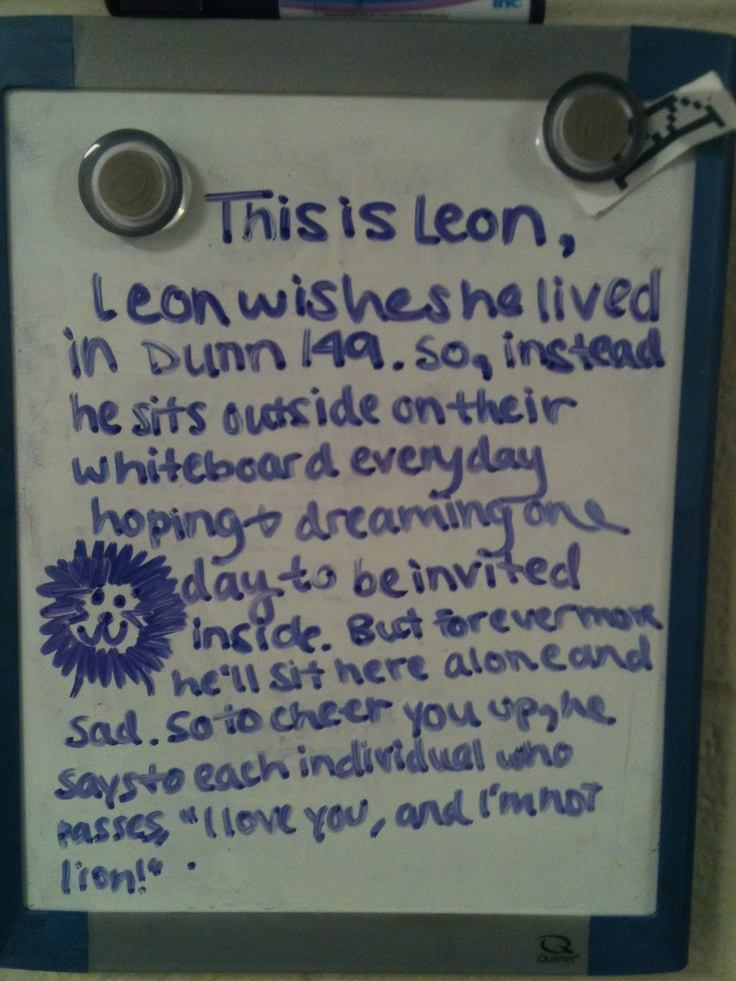 Leon the Lion Outside of a dorm door freshmen year