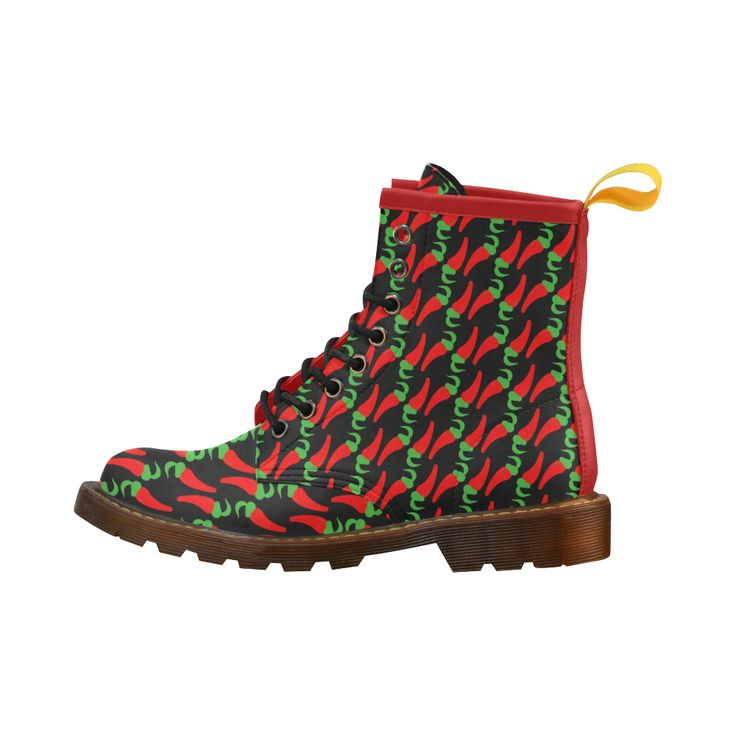Red Hot Chilli Pepper Pattern Leather Martin Boots For Women Model 402H