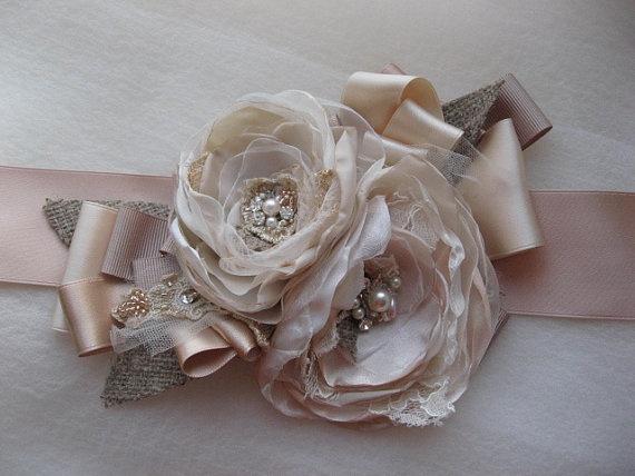 Vintage rustic weddings burlap bridal sash Beige by LeFlowers,