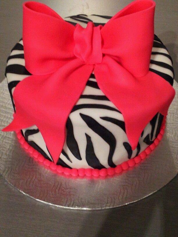 Bow cake Zebra Gâteau Zèbre boucle rose