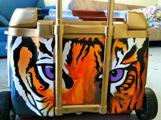 Clemson Girl - Clemson hand-painted custom coolers - Link to how to, and photos of Clemson painted coolers.