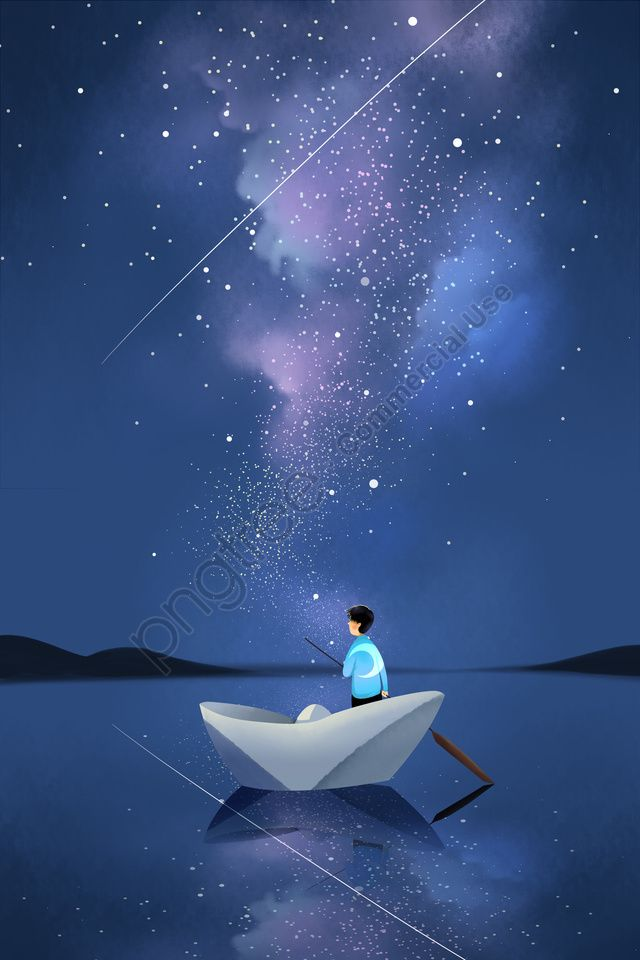 Starry Night Night View Star Galaxy Boat Illustration Image On Pngtree Free Download On Pngtree Boat Illustration Night Illustration Starry Night
