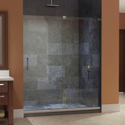 DreamLine Mirage 56 in. to 60 in. x 72 in. Frameless Sliding Shower Door in Chrome-SHDR-1960722-01 - The Home Depot