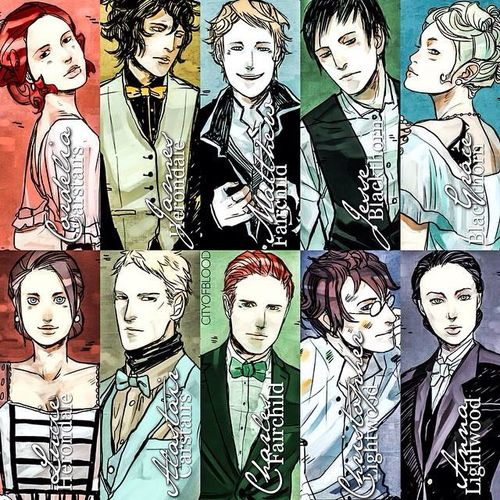 The Last Hours; Cordelia Daisy Carstairs, James Herondale, Matthew Fairchild, Jesse Blackthorn, Grace Cartwright Blackthorn, Lucie Herondale, Alistair Carstairs, Charles Fairchild, Christopher Lightwood and Anna Lightwood || Imagen de hours, last, and the