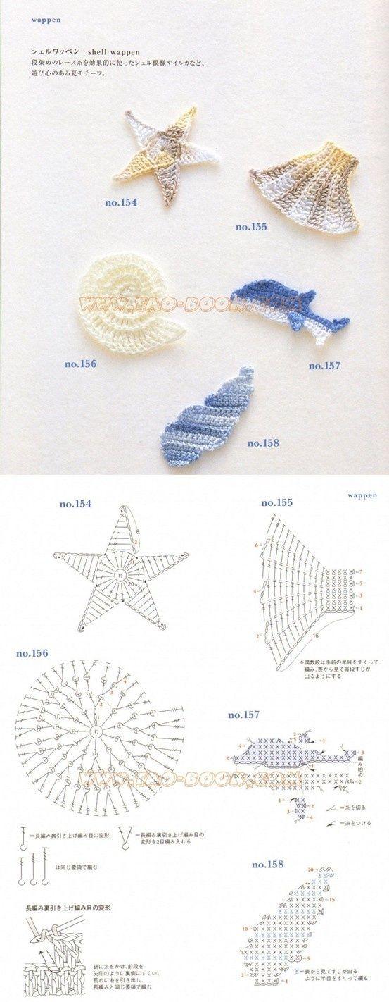 Patrones Crochet: Adornos del Mar. Apliques Patrones