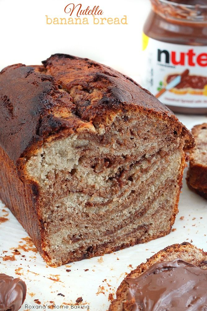 Nutella swirl banana bread recipe from Roxanashomebaking.com