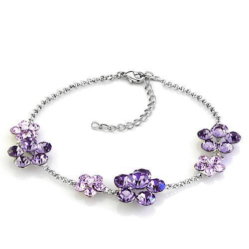 Pugster February Birthstone Amethyst Crystal Flower Ankle Bracelet Pugster. $6.79. Weight: 5.3. Color: Amethyst. Metal: Silver Stone Crystal. Size: 200*14.85*6.43. Save 61% Off!