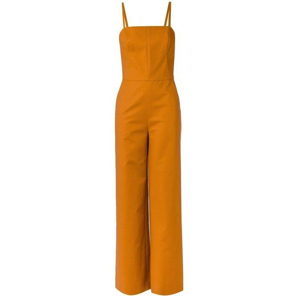 Andrea Marques spaghetti straps jumpsuit featuring polyvore, women's fashion, clothing, jumpsuits, orange, orange jump suit, orange jumpsuit, spaghetti strap jumpsuit, jump suit and andrea marques