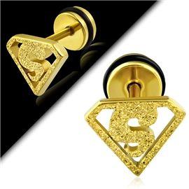 Zlatý třpytivý falešný piercing s motivem superman PFA00231 http://www.piercingate.cz/falesny-piercing-superman-pfa00231