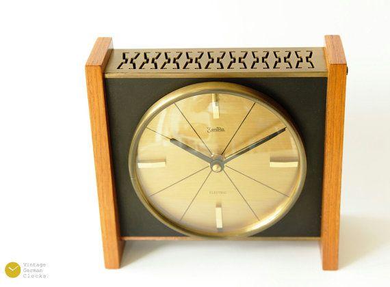 Mid Century ZENTRA Table CLOCK - 50s Modern mcm Teak Brass Desk Shelf Art Deco 60s Junghans - Tischuhr
