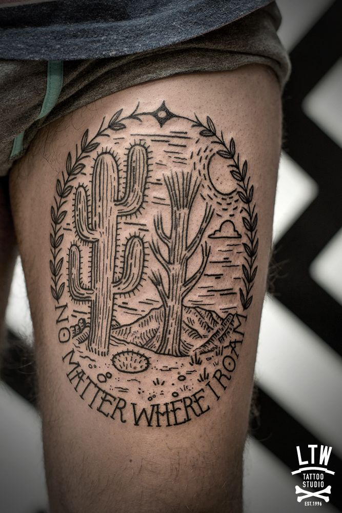 Etching Style Cactus Tattoo by LTW Tattoo Studio