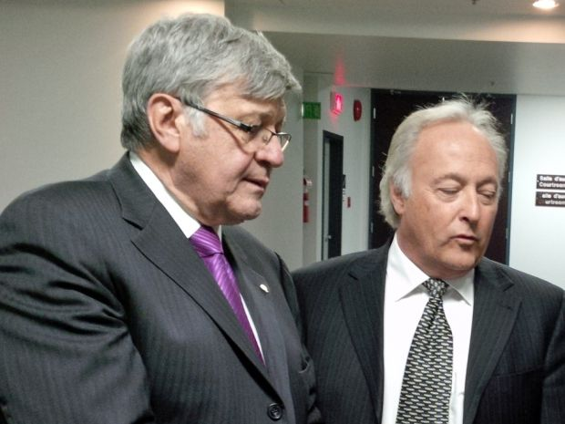 Quebec Superior Court Justice Michel Girouard, right, with his lawyer Gérald R. Tremblay. Judge Girouard sought to stop a judicial council investigation into allegations he purchased cocaine while he was a lawyer.