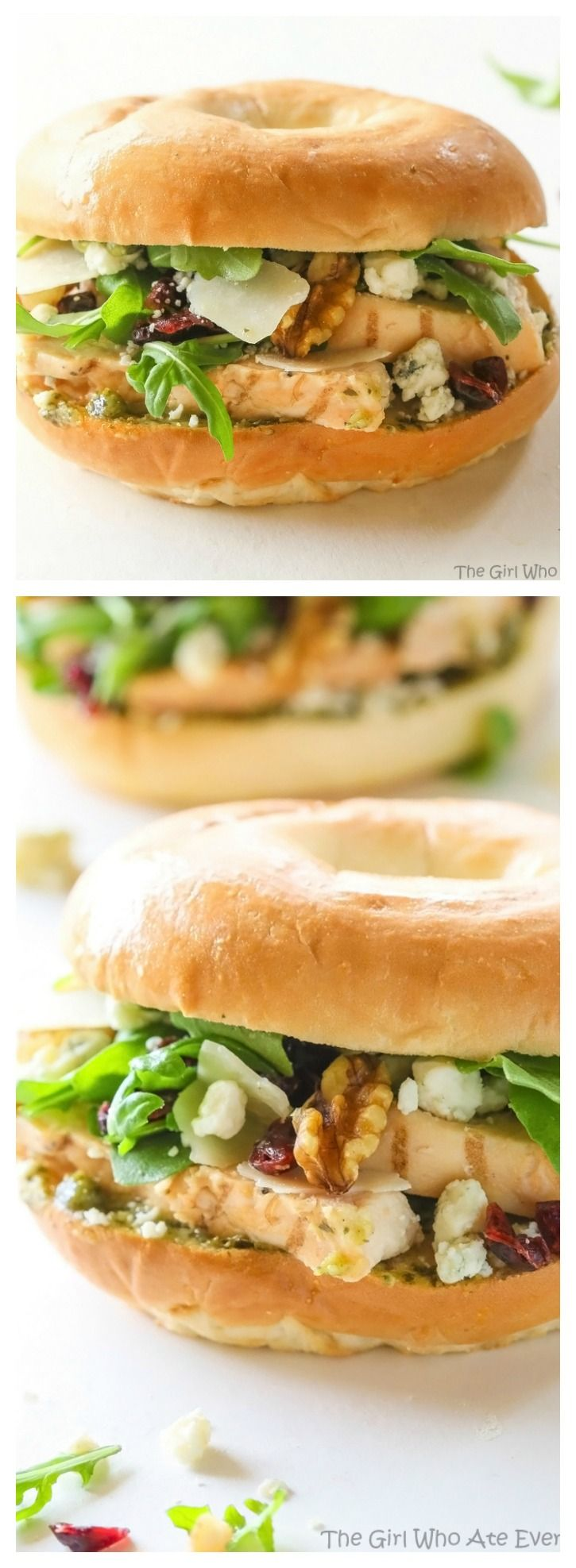 This Hampton Sandwich is one of those fancy salads on a sandwich! Grilled chicken, arugula, Gorgonzola, craisins, pesto, and walnuts. https://the-girl-who-ate-everything.com @Thomas Breads