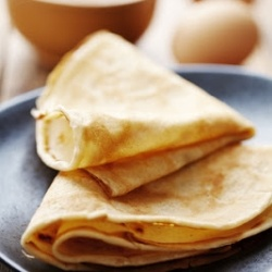 Crepes - Savory and Sweet. Vegetable bacon goodness for breakfast, Dulce de Leche ice cream and banana for dessert.
