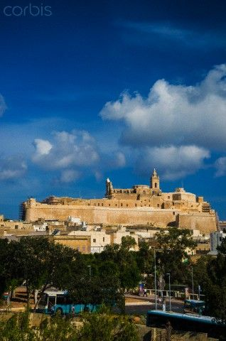 Ed Pritchard - The Citadel at Victoria (Rabat), Gozo. In the foreground is Gozo's new bus terminus.