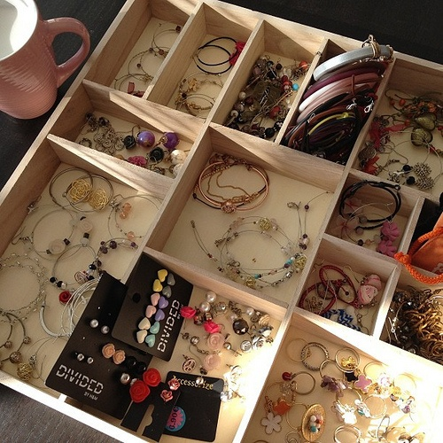 Accessories organization, most of which are handmade by my dear mom
