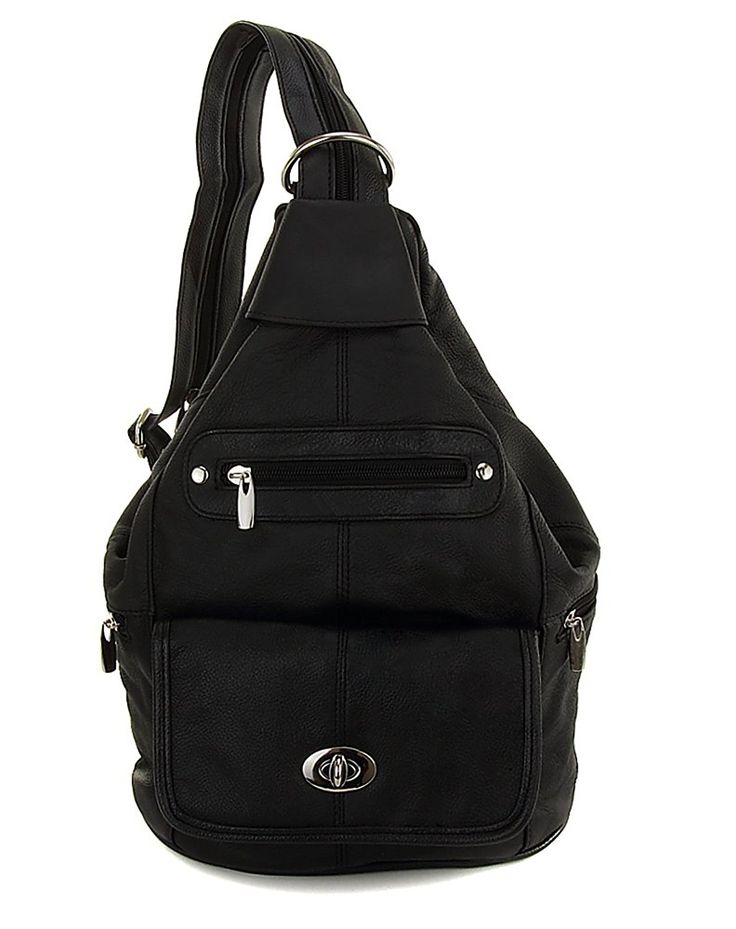 Womens Black Leather Convertible Sling Twist Lock Flap Backpack Bag with Key Ring Carabiner * More info could be found at the image url. (This is an Amazon Affiliate link and I receive a commission for the sales)