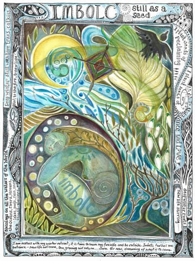 Beautiful painting for Imbolc. Love the layering of items ...