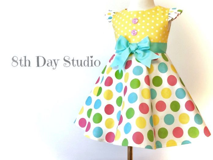 Toddler Easter Dress, Girls Easter Dress, Pastel Polka Dot Dress, Birthday, Wedding, Special Occasions, Sizes 2T - 5 Only by 8th Day Studio by 8thDayStudio on Etsy