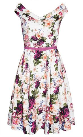 Coco Pink Floral Dress - cool retro rockabilly vibe! Off the shoulder style...