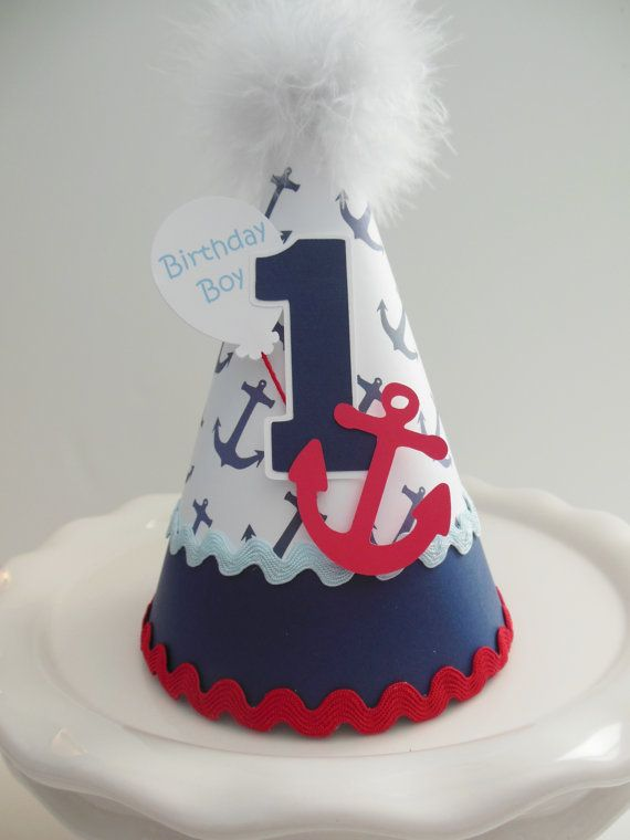 Lil' Sailor  Anchor Birthday Party Hat  by SandysSpecialtyShop