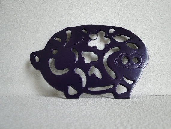 Updated Kitchen Wall Decor Pig Trivet In Bold Purple By TRWpainted, $16.00