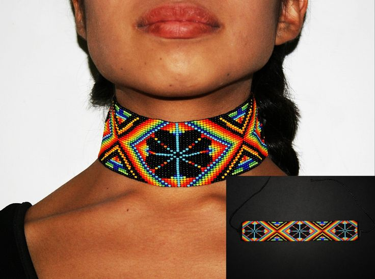 Peyote Choker Huichol Necklace Native by BiuluArtisanBoutique