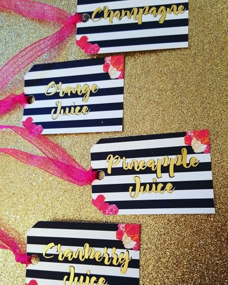 Kate Spade inspired theme carafe tags made by yours truly!