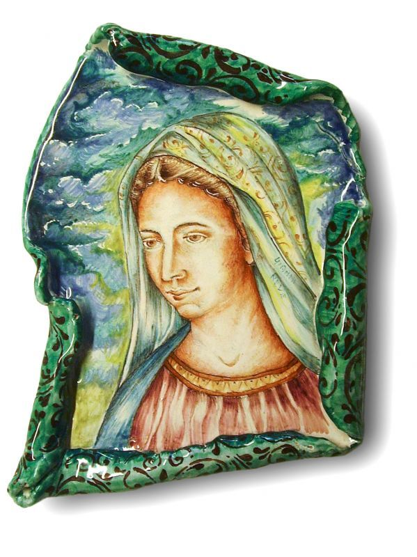 Parchment Medjugorje. Ceramic parchment depicting the Madonna of Medjugorje.