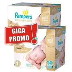 Pack jumeaux 1012 Couches Pampers Premium Care de taille 1 sur Les Looloos