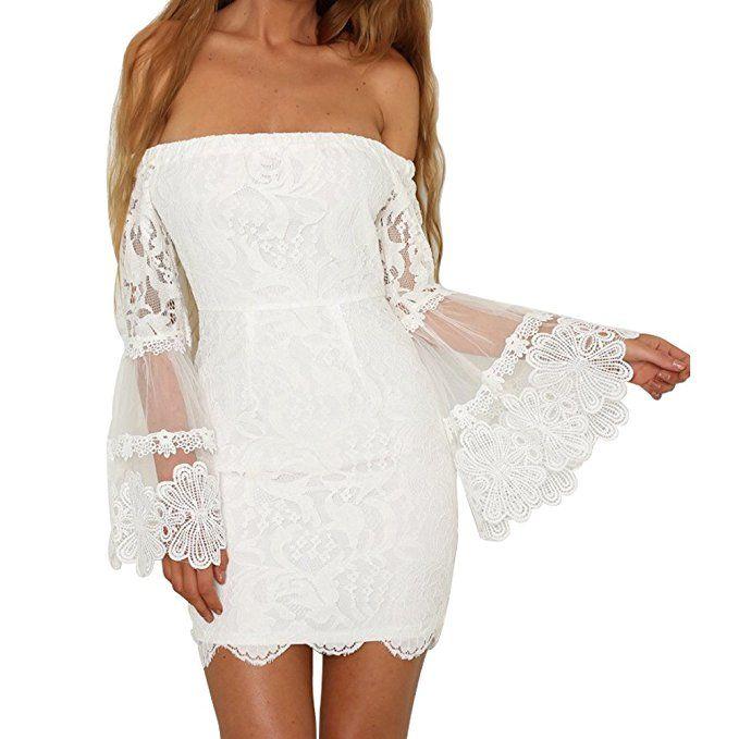 Damen Schulterfreies Blumen Spitzen Kleid Lange Glocke Armel Bodycon Schlauch Kleid Fur Party Hochzeit Sommer H Sommer Outfits Damen Kleider Sommer Kleider