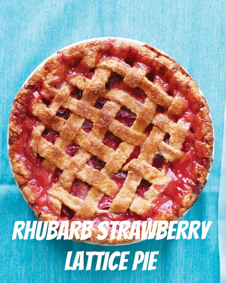 Rhubarb Strawberry Lattice Pie | Martha Stewart Living - Here we have the classic rhubarb pairing, made with a top crust that shows off the glorious fruit filling. This pie can also be made with rhubarb and raspberries or all rhubarb.