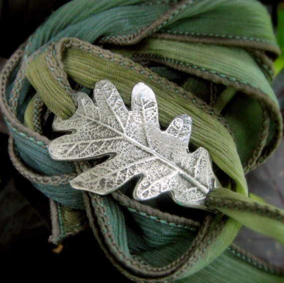 Oak Leaf Bracelet- Wrap Bracelet- Made From a Real Leaf- Silk Ribbon Wrap- Artisan Handcrafted- Recycled Fine Silver