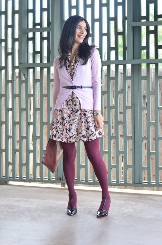 tights colored wear purple coloured outfit patterned casual outfits colorful hosiery business modern stylish