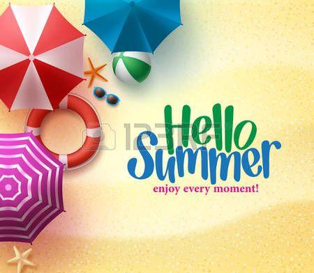 zomer+vakantie%3A+Hallo+Zomer+achtergrond+met+kleurrijke+paraplu%2C+Beach+Ball%2C+en+Lifebuoy+in+the+Sand+Sea+Shore+voor+de+zomer…