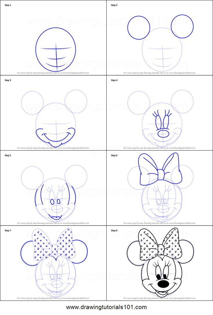 Spiksplinternieuw How to Draw Minnie Mouse Face from Mickey Mouse Clubhouse BS-32