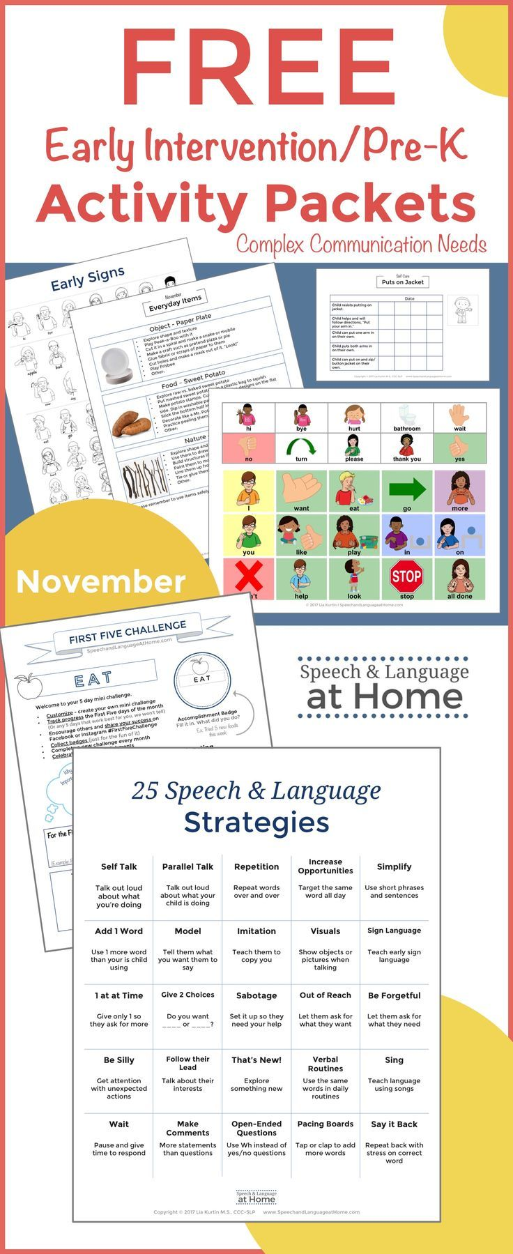 Free Early Intervention Activity packets for EI or preschool speech therapy. Speech and Language Strategies, Everyday Items, Early Signs, Early Songs, Classic Toys, DIY Toys, Early Games, Movement Games, Self Care
