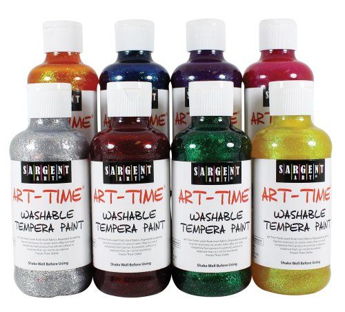 Sargent Art 22-3999 8-Ounce Art Time Washable Glitter Tempera Set of 8, Includes All colors