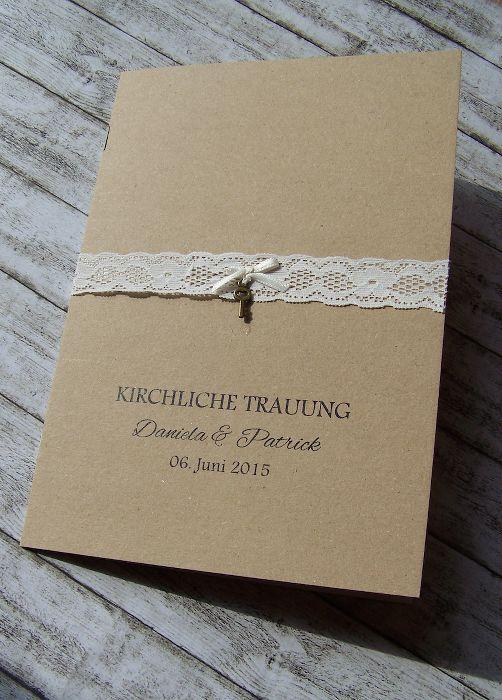 Kirchenheft Hochzeit Vintage - Kraft - Spitze - Schlüssel www.kartenmanufaktur-arndt.de