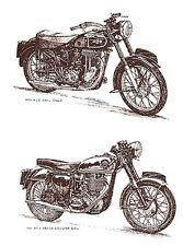 Motorcycle Vintage Vehicle Black Sketch Select-A-Size Waterslide Ceramic Decals