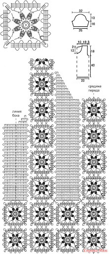 bruges lace square with flower in center  *pattern is for a vest & the instructions are pretty complete, even with only this one page